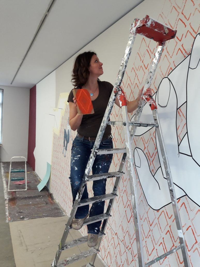 Arbeit am Wandbild 2017